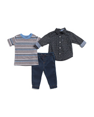 Infant Boys 3pc Woven Top Tee And Joggers Set