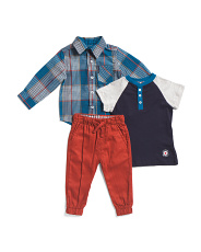 Infant Boys 3pc Woven Top And Joggers Set