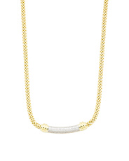 Sterling Silver 2 Tone And Cz Chain Necklace