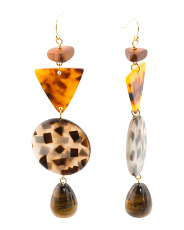 Made In Usa Tigers Eye And Multi Shaped Tortoise Long Earrings