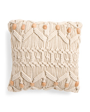 18x18 Macrame With Wood Bead Pillow