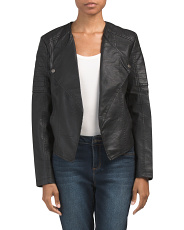 Juniors Drape Front Faux Leather Jacket