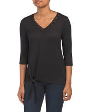 V Neck Three-quarter Sleeve Tie Front Top