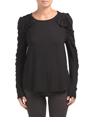Made In Usa Ruffle Shoulder Long Sleeve Top