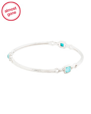Sterling Silver Turquoise Textured Bangle Bracelet