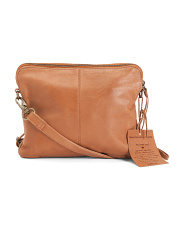 Front Zip Pocket Leather Crossbody
