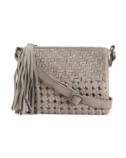 Leather Woven Front Crossbody