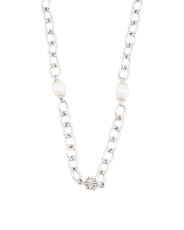 Sterling Silver Freshwater Pearl Station Necklace