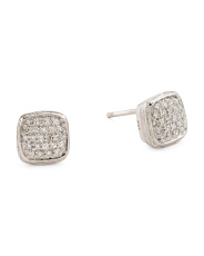 Sterling Silver Pave Diamond Cushion Stud Earrings