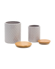 Set Of 2 Hobnail Canisters