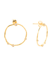 18k Gold Plated White Cz Front Hoop Earrings