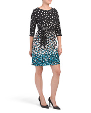 Petite Polka Dot Three-quarter Sleeve Dress