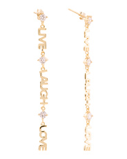 14k Gold Plated Sterling Silver Live Laugh Love Earrings