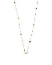 14k Gold Plated Sterling Silver Multi Colored Cz Necklace
