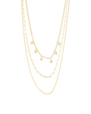 14k Gold Plated Sterling Silver Triple Layer Necklace