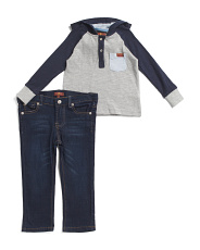 Toddler Boys 2pc Henley And Denim Pant Set