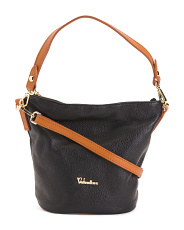Made In Italy Leather Bucket Crossbody