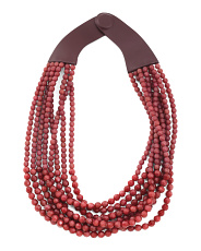 Handmade In Italy Leather Extended Bella Beaded Necklace