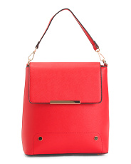 Faux Saffiano Flap Convertible Backpack