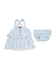 Newborn Girls Tiered Dress With Bloomers