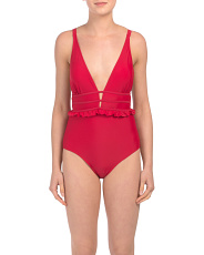 Ruffle Plunging Mio One-piece Swimsuit
