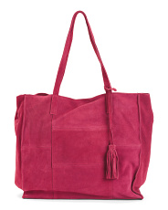Large Suede Tote With Tassel