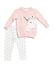 Newborn Girls Unicorn Sweater Legging Set