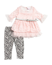 Little Girls 2pc Lace Animal Legging Set