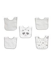 5pk Raccoon Bib Set