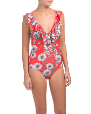Frill Shoulder One-piece Swimsuit