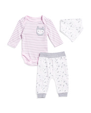 Baby Girls 3pc Owl Bodysuit Set