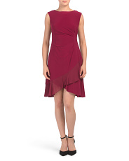 Petite Dress With Ruched Waist And Ruffle Hem