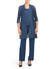 Petite 3pc Pantsuit With Lace Jacket And Top