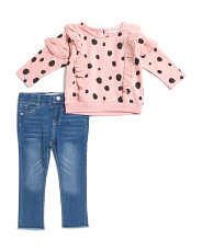 Toddler Girls Polka Dot Sweatshirt & Jean Set