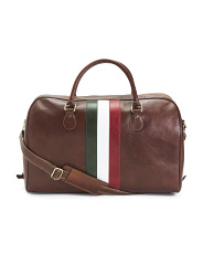 Made In Italy Italian Flag Leather Duffel