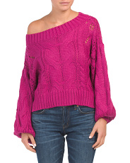 Juniors Australian Designed One Shoulder Cable Knit Sweater