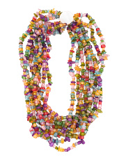 8 Row Multicolor Quartz And Mother Of Pearl Necklace