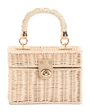 Handmade Wicker Box Bag With Chain Shoulder Strap