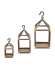 Set Of 3 Tin Hook Candle Holders