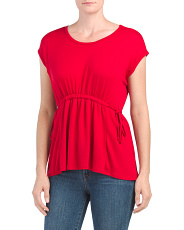 Cap Sleeve Cinched Waist Top