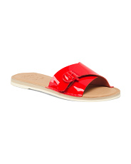 Memory Foam Patent Leather Slide Sandals