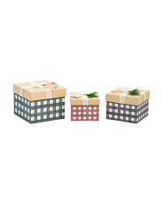 Set Of 3 Plaid Gift Boxes