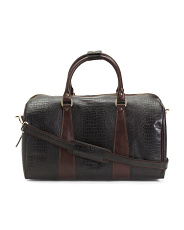Made In Italy Leather Croc Medium Duffel