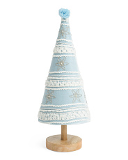 28in Velvet Cone Tree On Wooden Base