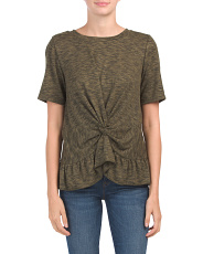Made In Usa Heathered Peplum Top
