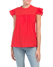 Eyelet Flutter Sleeve Top