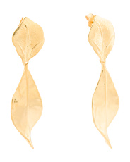 Made In Israel 14k Gold Plated Sterling Silver Leaf Earrings