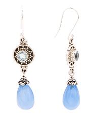 Made In India Sterling Silver Blue Topaz Chalcedony Earrings