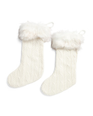 Set Of 2 Knit Stockings With Faux Fur