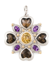 14k Gold And Sterling Silver Multi Gemstone Pendant
